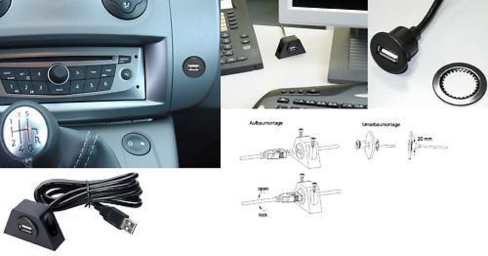 sinustec usb 2 anschlussbuchse mit 2 m verl ngerung usb schnittstelle autoradio. Black Bedroom Furniture Sets. Home Design Ideas
